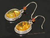 ae011 Genuine  amber  dangle earrings with sterling silver hook
