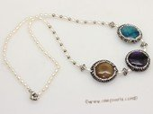 pn781 eye-catching freshwater rice pearl necklace with big gemstone bead