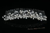 bcj073 Hand-wired clusters of freshwater pearls and crystal bridal comb