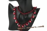 crn033 Hand wired wine red whorl potato parl and crystal rolo cord necklace