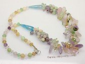 gsn224 Beautiful gemstone jewelry necklace mixed with mix-color gemstone and  agate beads