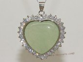 Jp029 Silver Tone Light Green Gemstone   Pendant with Zircon Beads