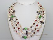 lmpn011  Multi-strand necklace wholesale with Mix color  freshwater pearl