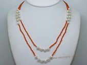 lmpn017 Low Price Hand strung Potato Pearl and plastic beads Necklace