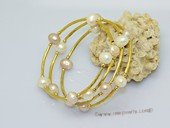 lpbr003 Gold tone tube wrap bracelet with low quality potato pearl