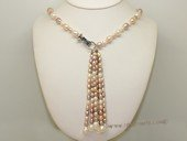 lpn023 wholesale single strand  necklace with six rice pearl braids