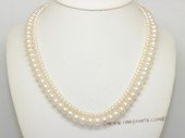 mpn409  Cultured Freshwater  Button Pearl Necklace In Two Rows