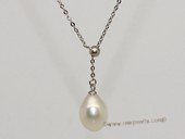 pn720  Beautiful sterling silver chain necklace with 9-10mm freshwater pearl