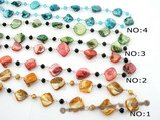 rpn259 Fashion Mother of pearl shell and faceted crystal rope necklace on sale