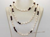 Rpn465 Fashion long drilled Nugget Pearl  and Garnet Beads Rope Necklace