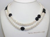 rpn476 Freshwater Potato Pearl Rope Necklace with  Coin Shape Pearl