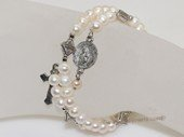 rybr024  Hand-wrapped white potato pearl rosary bracelet in wholesale