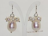 Spe595 Hand Crafted Large Rice  Pearls Hook Dangle Earrings