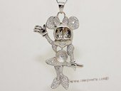 spm249 Sterling Silver Micky Mouse Design Pendant Mounting with Zircon Pave