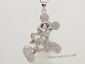 spm251 Sterling Silver Disney Cartoon Pendant Mounting with Zircon Pave