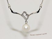 spp532 8-9mm white round pearl sterling silver necklace with zircon