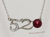 Spp542 Digital number design freshwater pearl sterling silver chain Necklace