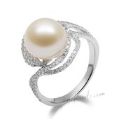Spr159 Fashion Sterling Silver Ring with 10-11mm Freshwater Round Pearl