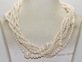 tpn242 Exclusive Six Strands Cultured Freshwater Pearl Twisted Necklace